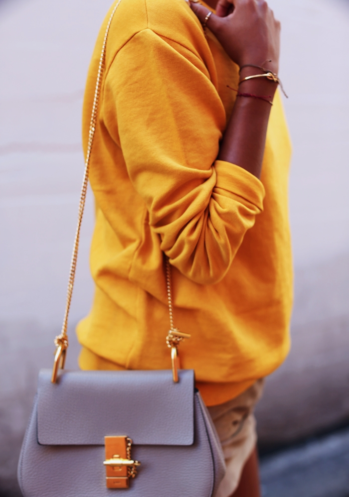 outfit, winter, and yellow image