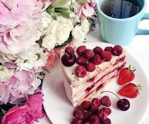 cake, fruit, and flowers image
