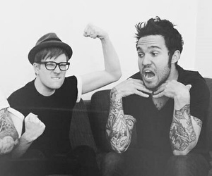 patrick stump, pete wentz, and black and white image