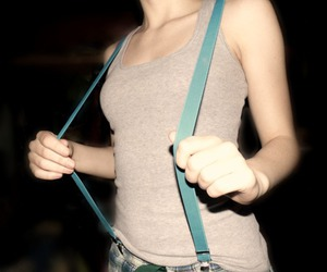 girl, suspenders, and plaid image