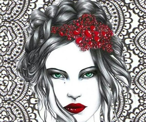 drawing, red, and art image