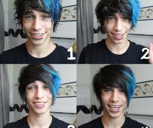 blue, dark, and eyes image