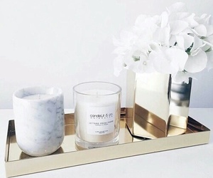 flowers, candle, and white image