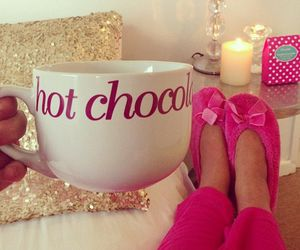 pink, chocolate, and hot chocolate image