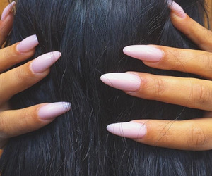 nails, hair, and brunette image