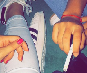 adidas, besties, and cigarette image