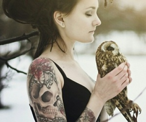 tattoo, girl, and owl image