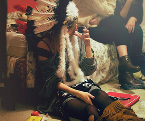 girl, indian, and smoke image