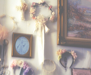 bedroom, flowers, and wall image