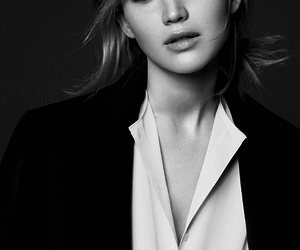Jennifer Lawrence, beautiful, and black and white image