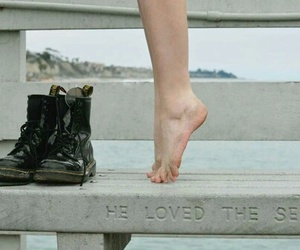 sea, boots, and feet image