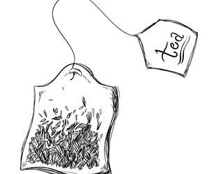 bag, drawing, and tea image