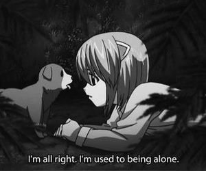 anime, elfen lied, and alone image