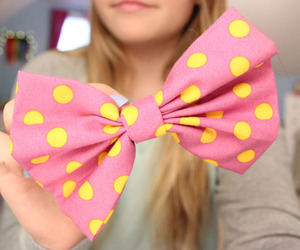 pink, bow, and yellow image