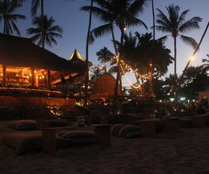 beach, palmtrees, and sun image