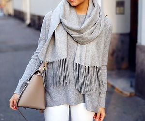 fashion, scarf, and bag image