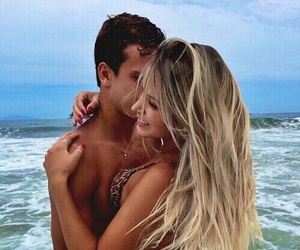 blonde girl, boyfriend, and couple image