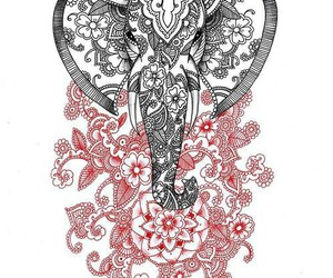 elephant, drawing, and flowers image