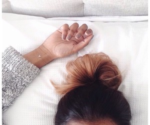 hair, bun, and brunette image