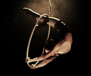 black and white, aerialist, and night circus image