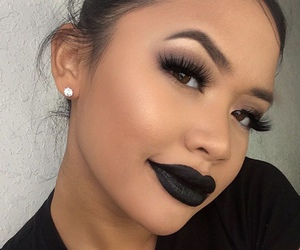 makeup, black, and beauty image