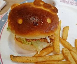 food, hamburger, and hello kitty image