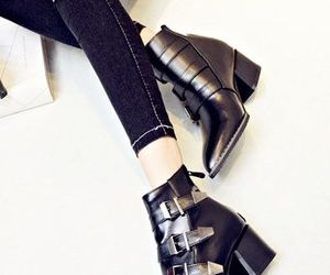 black shoes, street style, and fashion accessory image