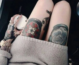 tattoo, girl, and coffee image