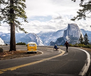mountain, road, and on the road image