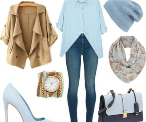 beanie, blouse, and blue image