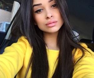 yellow, girl, and brunette image