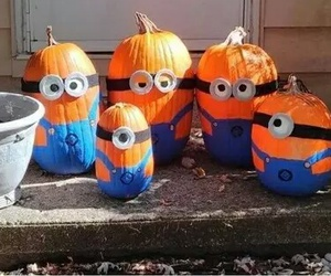 minions, pumpkin, and Halloween image