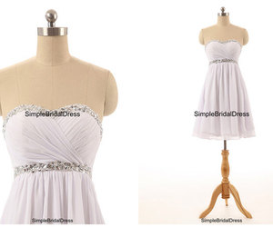 bridesmaid dress, short prom dresses, and white homecoming dresses image