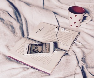 book, music, and coffee image