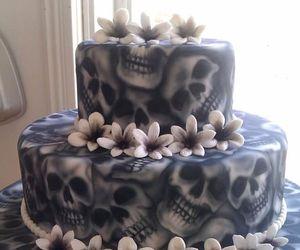 cake, skull, and wedding image