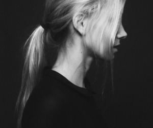 black and white, blonde, and hair image