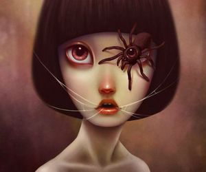 spider, girl, and art image