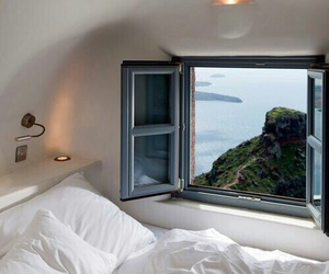 bed, view, and window image