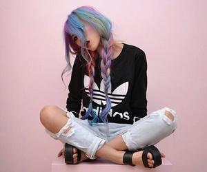 hair, adidas, and pink image