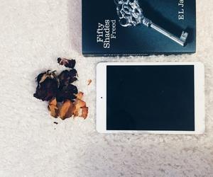 book, white, and ipad image