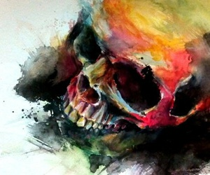 colors, skull, and art image