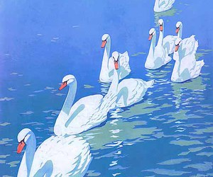 1911, illustration, and swans image