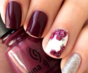 burgundy, flower, and nails image