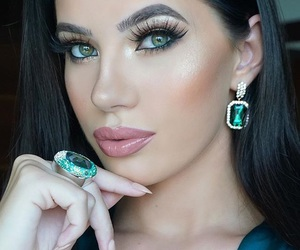 brunette, diamond, and jewelry image