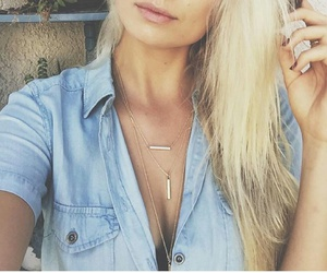 gold necklaces, layered necklaces, and denim shirts image