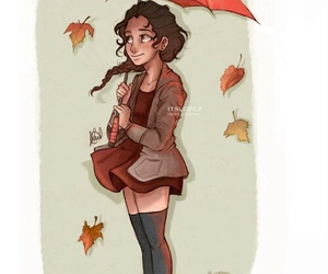 autumn, drawing, and girl image