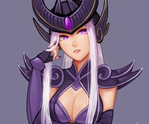 white, league of legends, and syndra image