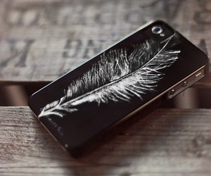 iphone, feather, and phone image