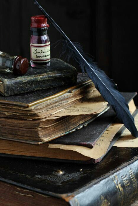 book, feather, and old image