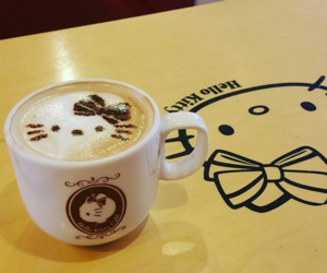coffee, hello kitty, and hello kitty cafe image
